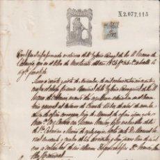 Manuscritos antiguos: 1874 VALENCIA SELLO FISCAL 11º DE 50 CTS. PAPEL SELLADO CERTIFICADO IGLESIA SANTOS JUANES. Lote 183822555