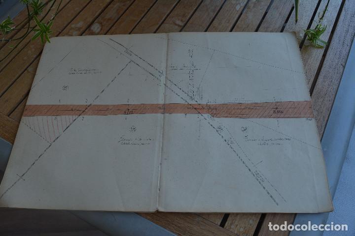 Manuscritos antiguos: DOCUMENTO ÚNICO Y ORIGINAL DE FINALES DEL SIGLO XIX.FERROCARRIL CENTRAL DE ARAGÓN.PLANO PARCELARIO - Foto 2 - 183826378