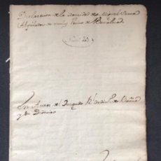 Manuscritos antiguos: MANUSCRITO DEL 1767 DECLARACIÓN DE INDONEIDAD ALQUILADOR DE MULAS VECINO BARCELONA. . Lote 183977650