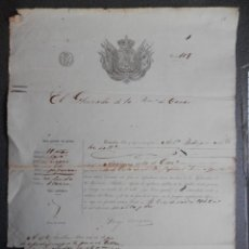 Manuscrits anciens: GRAN PASAPORTE GRABADO AÑO 1862 PARA VIAJAR A CUBA COMO SOLDADO EN BERGANTÍN JOVEN AQUILES -CANARIAS. Lote 184019530