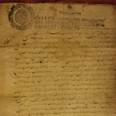 Manuscritos antiguos: DOCUMENTO EN PAPEL TIMBRADO,SELLO 4º,10 MARAVEDIS,1679,1 PLIEGO ,FIRMADO. Lote 184341257