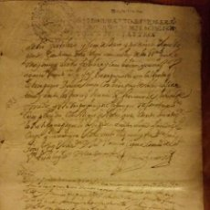 Manuscritos antiguos: DOCUMENTO EN PAPEL TIMBRADO,SELLO 4º,10 MARAVEDIS,1693,1 PLIEGO FIRMADO.. Lote 184341337