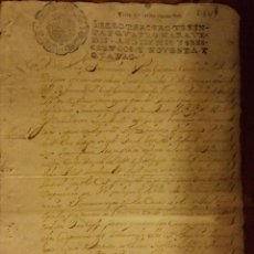 Manuscritos antiguos: DOCUMENTO PAPEL TIMBRADO,SELLO 3º,34 MARAVEDIS, 1694,1 PLIEGO,FIRMADO.. Lote 184341411