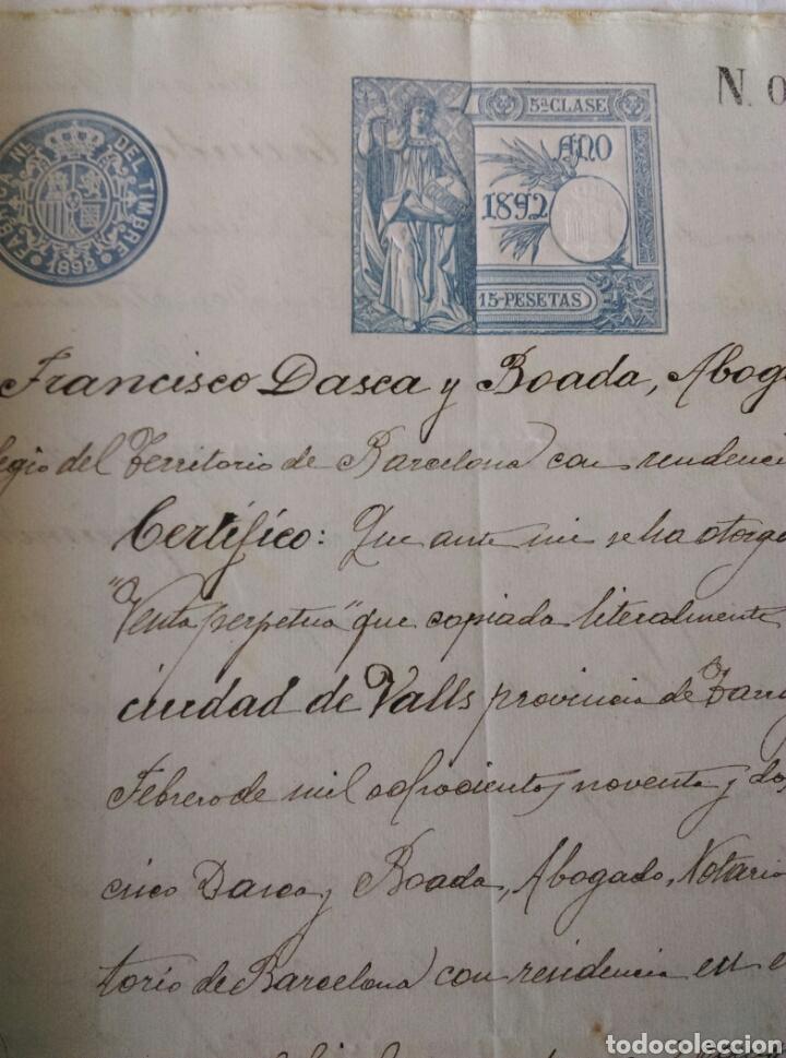 Manuscritos antiguos: Escritura carta de pago n 61 año 1892 Valls Vallmoll Tarragona Francisco Dasca y Boada manuscrito - Foto 2 - 184545638