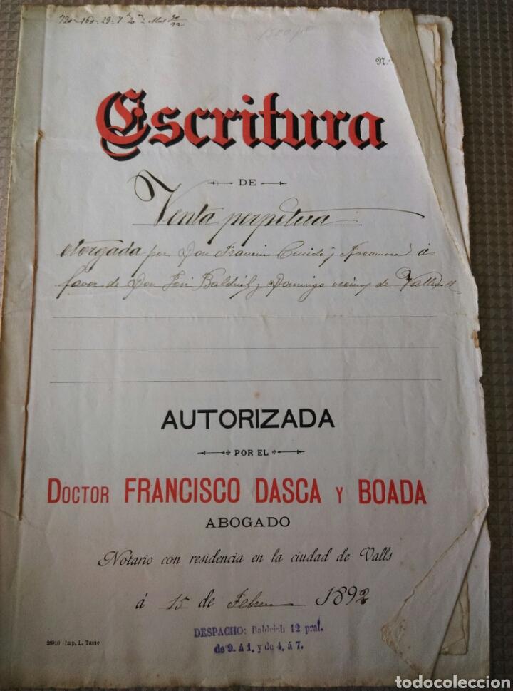 ESCRITURA CARTA DE PAGO N 61 AÑO 1892 VALLS VALLMOLL TARRAGONA FRANCISCO DASCA Y BOADA MANUSCRITO (Coleccionismo - Documentos - Manuscritos)