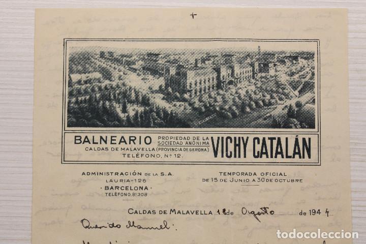 BALNEARIO VICHY CATALÁN, CARTA MANUSCRITA, 21,50X13,50 CM, 1944 (Coleccionismo - Documentos - Manuscritos)
