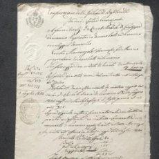 Manuscritos antiguos: MANUSCRITO DOS SILICIAS FERNANDO II DOCUMENTO HIPOTECARIO 1844. DIFERENTES SELLOS.. Lote 185962233