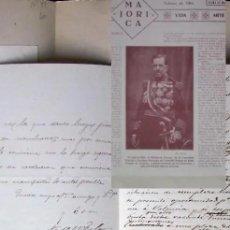 Manuscritos antiguos: FIRMA Y LAMINA VALERIANO WEYLER , AÑO 1887, MANUSCRITO , CARTA. Lote 186244036