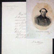 Manuscritos antiguos: MANUSCRITO CARTA FIRMADA POR SALUSTIANO OLOZAGA AÑO 1869. Lote 186247648