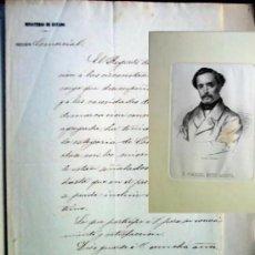 Manuscritos antiguos: MANUSCRITO CARTA FIRMADO Y GRABADO MATEO SAGASTA , AÑO 1870. Lote 186250071