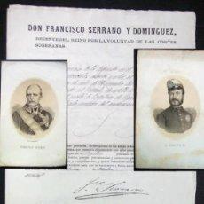 Manuscritos antiguos: MANUSCRITOS FIRMADOS: POR JUAN PRIM Y FRANCISCO SERRANO , MAS GRABADOS. AÑO 1870. Lote 186251277