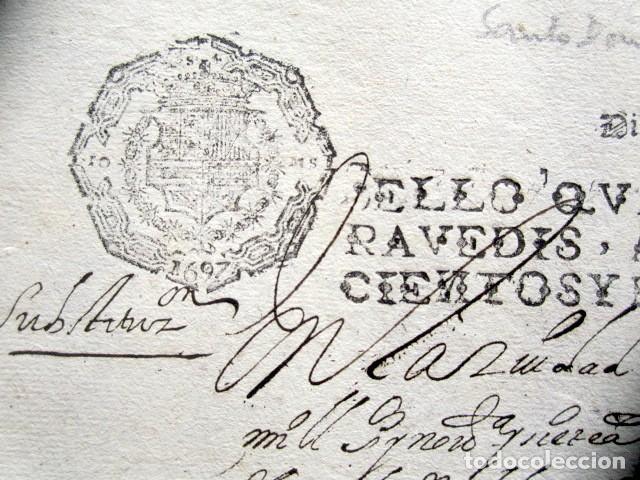 Manuscritos antiguos: AÑO 1697. SANTO DOMINGO DE LA CALZADA, LOGROÑO. SELLO CUARTO. 10 MARAVEDIS. PAPEL TIMBRADO. - Foto 2 - 186310336