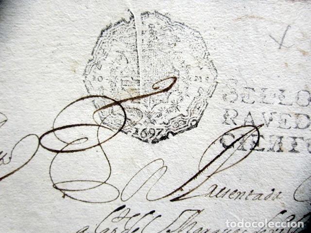 Manuscritos antiguos: AÑO 1697. SANTO DOMINGO DE LA CALZADA, LOGROÑO. SELLO CUARTO. 10 MARAVEDIS. PAPEL TIMBRADO. - Foto 3 - 186310376