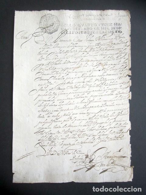 AÑO 1697. SANTO DOMINGO DE LA CALZADA, LOGROÑO. SELLO CUARTO. 10 MARAVEDIS. PAPEL TIMBRADO. (Coleccionismo - Documentos - Manuscritos)