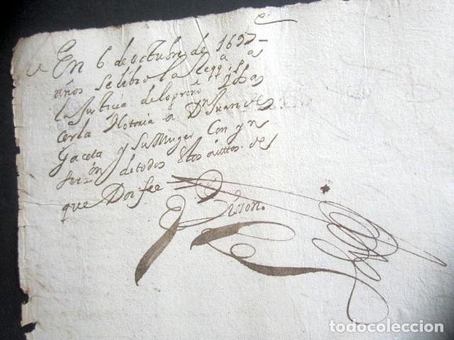 Manuscritos antiguos: AÑO 1697. SANTO DOMINGO DE LA CALZADA, LOGROÑO. SELLO CUARTO. 10 MARAVEDIS. PAPEL TIMBRADO. - Foto 2 - 186310376