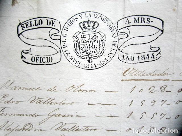 AÑO 1844. SELLO DOBLE DE OFICIO. NO COINCIDE CON CATÁLOGO. RARO. ISABEL II. PAPEL TIMBRADO. (Coleccionismo - Documentos - Manuscritos)