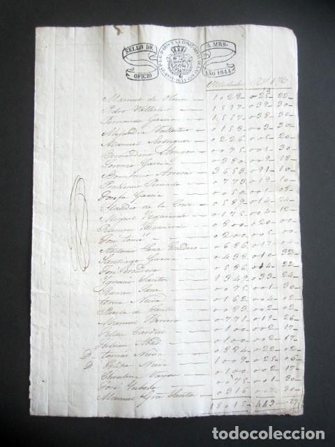 Manuscritos antiguos: AÑO 1844. SELLO DOBLE DE OFICIO. NO COINCIDE CON CATÁLOGO. RARO. ISABEL II. PAPEL TIMBRADO. - Foto 2 - 186311783