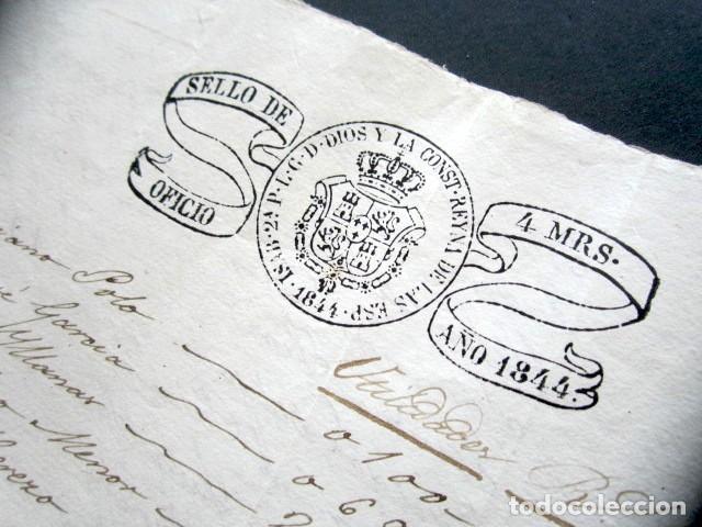 Manuscritos antiguos: AÑO 1844. SELLO DOBLE DE OFICIO. NO COINCIDE CON CATÁLOGO. RARO. ISABEL II. PAPEL TIMBRADO. - Foto 5 - 186311783