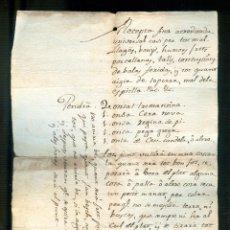 Manuscritos antiguos: NUMULITE A30121 RECEPTA MÈDICA RECETA PARA TODO MAL MANUSCRITO ANTIGUO MEDICINA HERIDA DE BALA. Lote 186340006