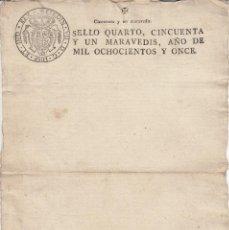 Manuscritos antiguos: 1811 PAPEL SELLADO FISCAL SELLO 4º 51 MARAVEDIS TIMBROLOGIA TIMBRE RARO EN BLANCO GUERRA INDEPENDENC. Lote 187199525