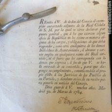 Manuscritos antiguos: REAL CÉDULA DE LA HABANA 1784 PEDRO ESCOLANO DE ARRIETA FIRMA ALCALDE MAYOR CUBA.. Lote 188776402