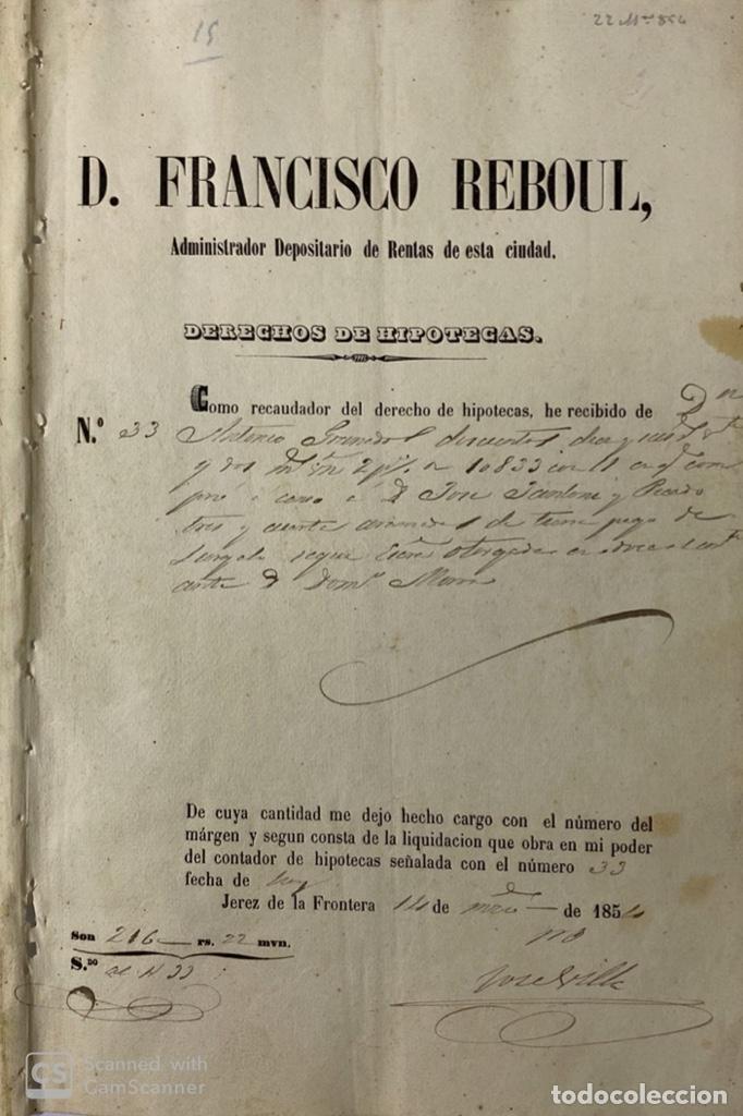 Manuscritos antiguos: JEREZ DE LA FRA, 1867. AGREGACION Y REVALORIZACION DE TIERRAS + TITULOS DE VIÑA EN EL PAGO DE ARGAL - Foto 4 - 189041657
