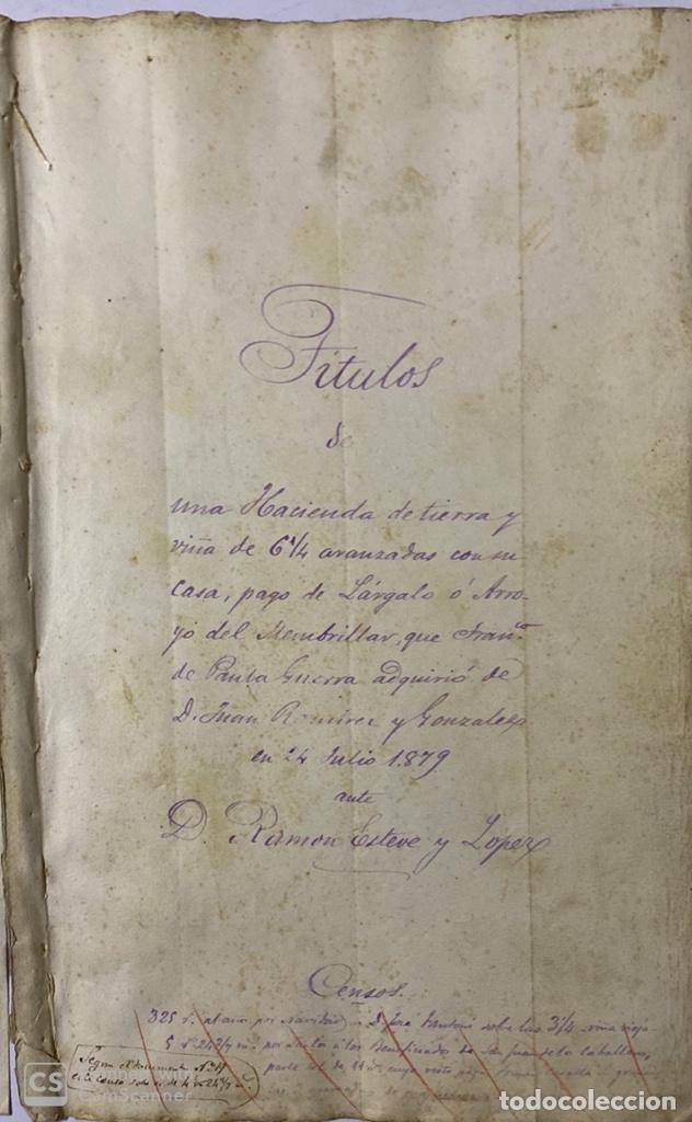 Manuscritos antiguos: JEREZ DE LA FRA, 1867. AGREGACION Y REVALORIZACION DE TIERRAS + TITULOS DE VIÑA EN EL PAGO DE ARGAL - Foto 6 - 189041657