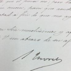 Manuscritos antiguos: CARTA MANUSCRITA Y FIRMADA POR SEGISMUNDO MORET. CÁDIZ. MINISTRO, PRESIDENTE...1895.. Lote 189577130