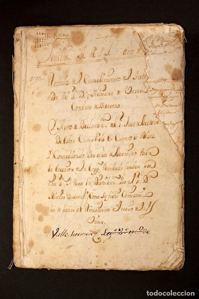 AÑO 1723. GERENA, SEVILLA. FUNERAL DE ADRIANA DE URZUA, CONDESA DE GERENA. 5.000 MISAS POR SU ALMA. (Coleccionismo - Documentos - Manuscritos)