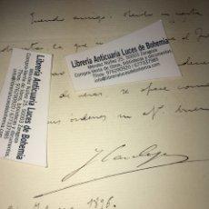 Manuscritos antiguos: CARTA MANUSCRITA Y FIRMA DE JOSÉ CANALEJAS. MINISTRO, PRESIDENTE...ASESINADO.. Lote 189612787