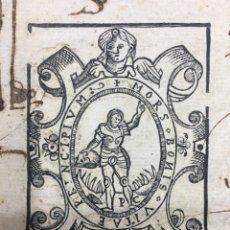 Manuscritos antiguos: PRECIOSA MARCA DE IMPRESOR DEL PRIMER IMPRESOR MADRILEÑO 1569. XILOGRAFÍA.. Lote 189760797