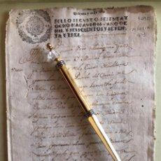 Manuscritos antiguos: MURCIA- MANUSCRITO TIERRAS- BARRIO DEL MOLINO- SELLO 2º 68 MRVDS CARLOS II- AÑO 1.673. Lote 189834012