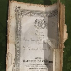 Manuscritos antiguos: MANUSCRITO COSIDO VENTA ANTE NOTARIO 1862 SANTIAGO DE COMPOSTELA. Lote 189948550