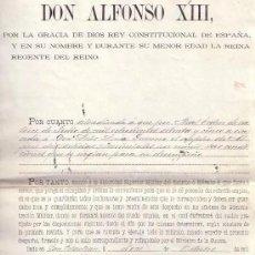 Manuscritos antiguos: REAL DESPACHO DE LA REINA REGENTE Mª CRISTINA POR ALFONSO XIII. AÑO 1896. Lote 189982630