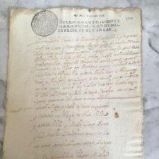 Manuscritos antiguos: MANUSCRITO ANTIGUO MADRID 1713 SELLÓ PHILIPPUS V VEINTE MARAVEDIS. . Lote 190321753