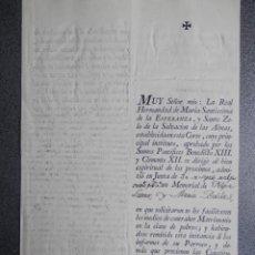 Manuscritos antiguos: DOCUMENTO AÑO 1791 MADRID HERMANDAD Mª SANTISIMA DE LA ESPERANZA MATRIMONIO POBRES. Lote 190717501