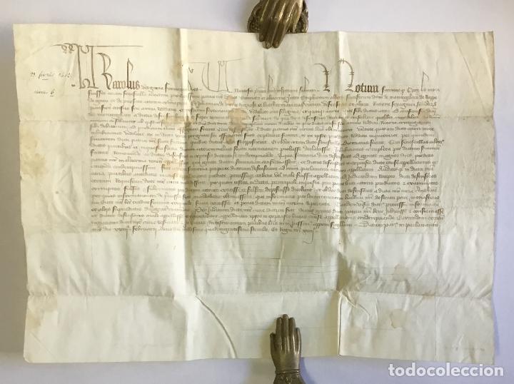 [SENTENCIA DE UNA CAUSA DE APELACIÓN]. - [MANUSCRITO]. CARLOS VI DE FRANCIA. AÑO 1402. (Coleccionismo - Documentos - Manuscritos)