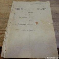 Manuscritos antiguos: TITULO DE PROPIEDAD Y PLANO DE DEMARCACION DE LA MINA DE PLOMO,DENOMINADA SAN JUAN, AZUAGA, BADAJ. Lote 190816421