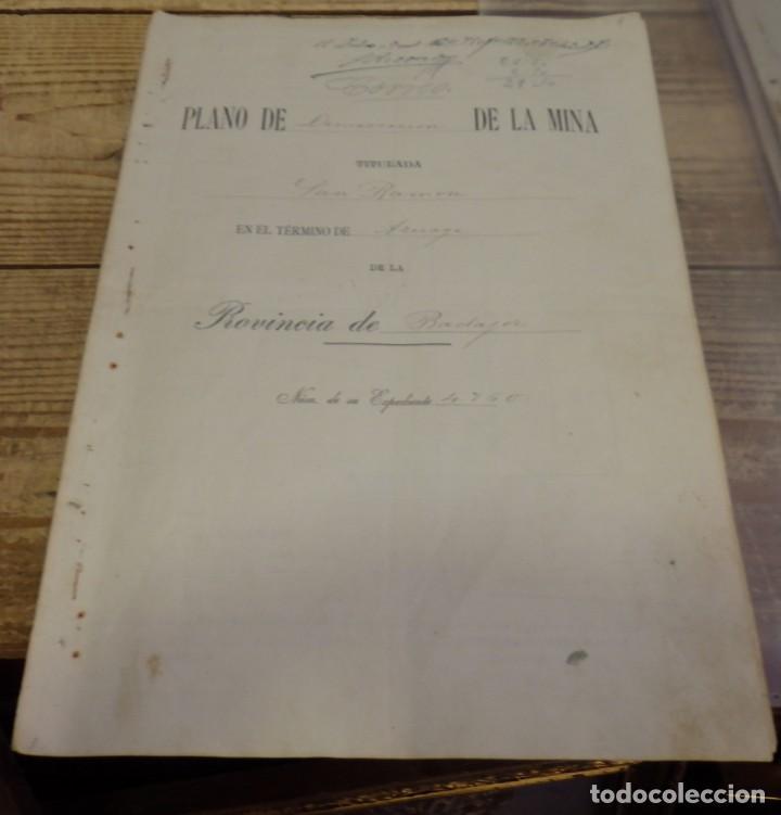 TITULO DE PROPIEDAD Y PLANO DE DEMARCACION DE LA MINA DE PLOMO,DENOMINADA SAN RAMON, AZUAGA, BADAJOZ (Coleccionismo - Documentos - Manuscritos)