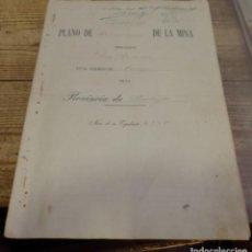 Manuscritos antiguos: TITULO DE PROPIEDAD Y PLANO DE DEMARCACION DE LA MINA DE PLOMO,DENOMINADA SAN RAMON, AZUAGA, BADAJOZ. Lote 190816722
