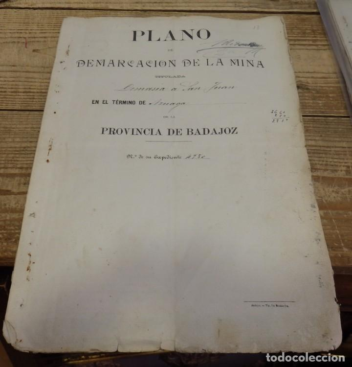 TITULO DE PROPIEDAD Y PLANO DE DEMARCACION DE LA MINA DE PLOMO,DENOMINADA DEMASIA SAN JUAN, AZUAGA, (Coleccionismo - Documentos - Manuscritos)