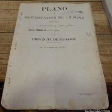 Manuscritos antiguos: TITULO DE PROPIEDAD Y PLANO DE DEMARCACION DE LA MINA DE PLOMO,DENOMINADA DEMASIA SAN JUAN, AZUAGA, . Lote 190817042