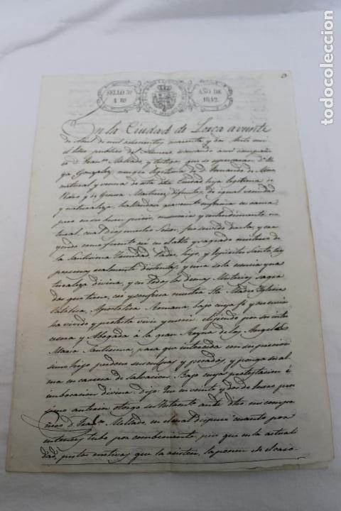 Manuscritos antiguos: SELLO 3º 4 REALES, ISABEL II,. AÑO 1842, Y SELLOS EN SECO, LORCA - Foto 3 - 190895250