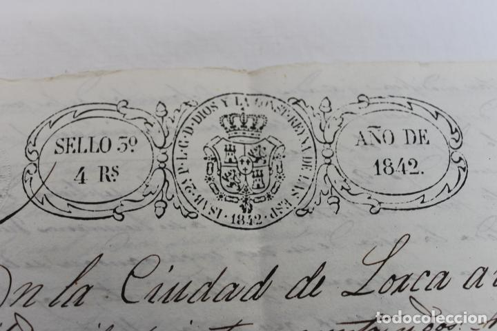 SELLO 3º 4 REALES, ISABEL II,. AÑO 1842, Y SELLOS EN SECO, LORCA (Coleccionismo - Documentos - Manuscritos)