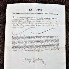 Manuscritos antiguos: DOCUMENTO CON LA FIRMA DE LA REINA DOÑA MARIA CRISTINA. AÑO 1836. Lote 191082562
