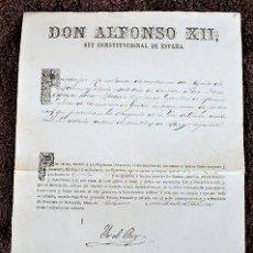 Manuscritos antiguos: DOCUMENTO CON LA FIRMA DEL REY DON ALFONSO XII. AÑO 1877. Lote 191082975