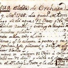 Manuscritos antiguos: LA PRIMERA RECETA DE HORCHATA DE LA HISTORIA VALENCIA AÑO 1748 SIGLO XVIII. Lote 191105105