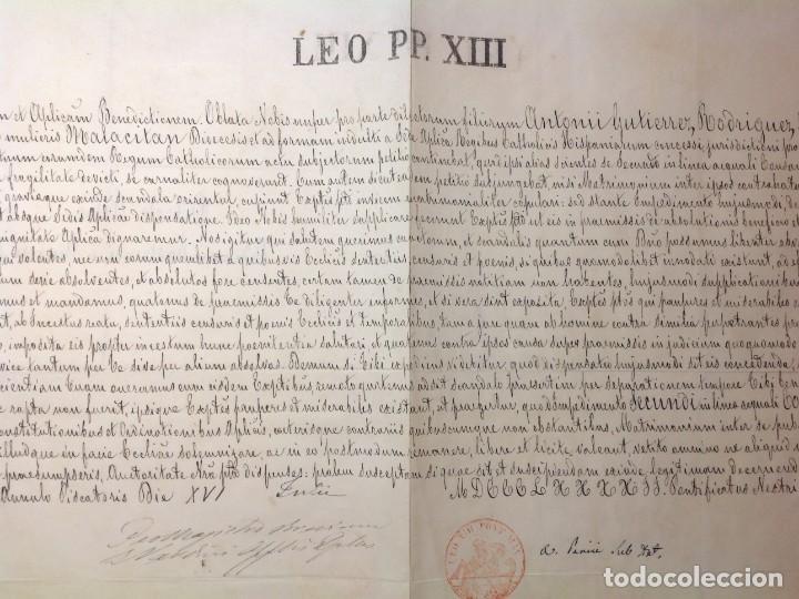 Manuscritos antiguos: DISPENSA DE papa LEON XIII a MATRIMONIO CONSANGUINEO en Malaga * manuscrito en piel vitela año 1892 - Foto 2 - 191109546