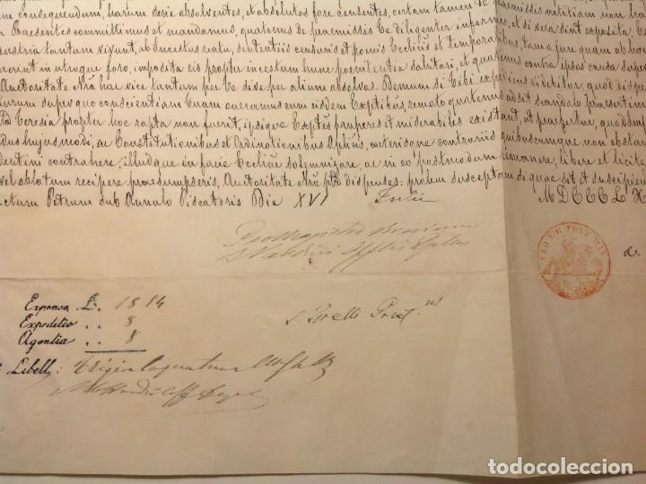 Manuscritos antiguos: DISPENSA DE papa LEON XIII a MATRIMONIO CONSANGUINEO en Malaga * manuscrito en piel vitela año 1892 - Foto 4 - 191109546