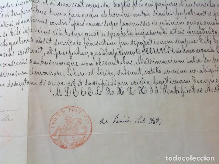 Manuscritos antiguos: DISPENSA DE papa LEON XIII a MATRIMONIO CONSANGUINEO en Malaga * manuscrito en piel vitela año 1892 - Foto 5 - 191109546